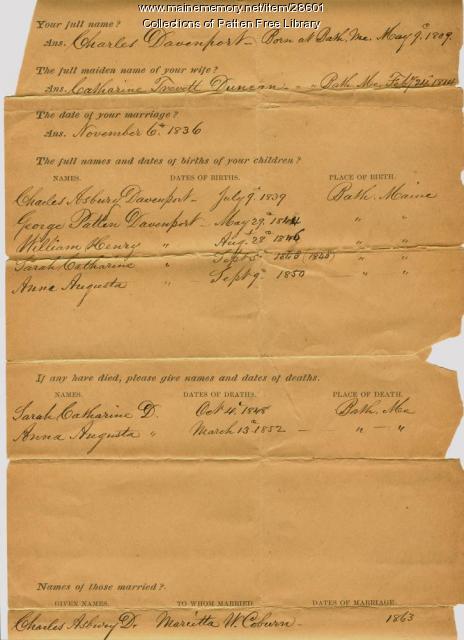 Davenport family genealogical worksheet, Bath, 1887