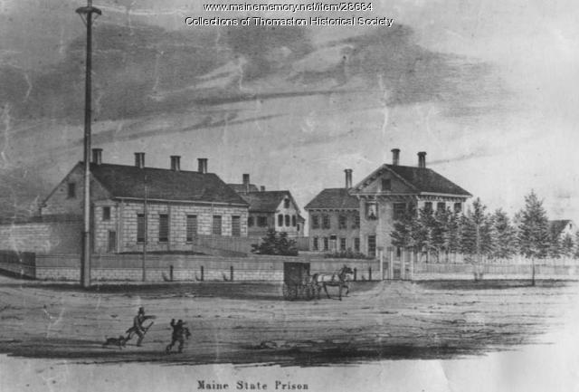 Etching of Maine State Prison, Thomaston, Maine 1855