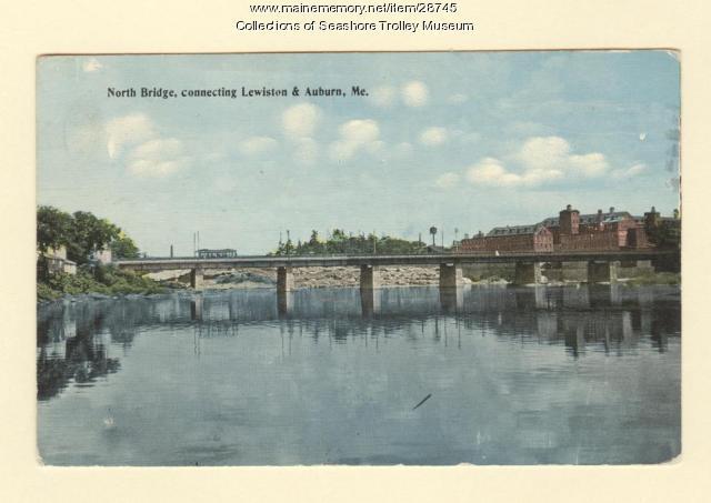 North Bridge, connecting Lewiston and Auburn, ca. 1913