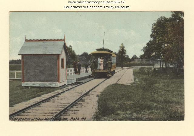 Car Station at New Meadows Inn, Bath, ca. 1910