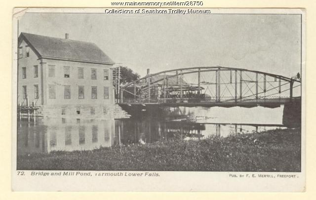 Bridge and Mill Pond, Yarmouth Lower Falls, ca. 1903