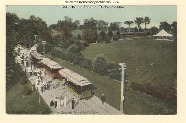 In front of the Casino, Riverton Park, ca. 1910