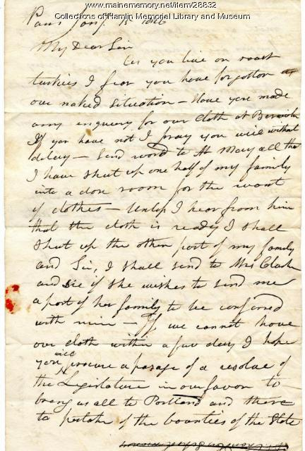 Letter from Cyrus Hamlin, Paris, 1826