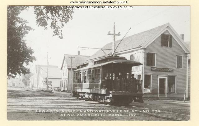 Trolley in North Vassalboro, ca. 1910