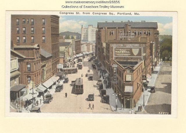 Congress Street from Congress Square, Portland, ca. 1915