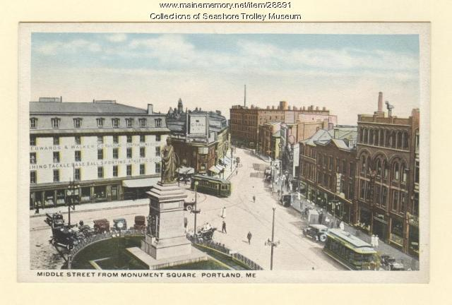 Middle Street from Monument Square, Portland, ca. 1910