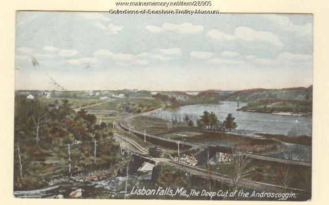 The deep cut of the Androscoggin, Lisbon Falls, ca. 1911