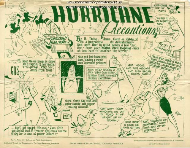 Hurricane preparedness restaurant mat, ca. 1958