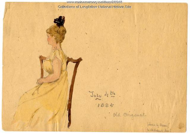 Lucia Longfellow in grandmother's dress, 1883