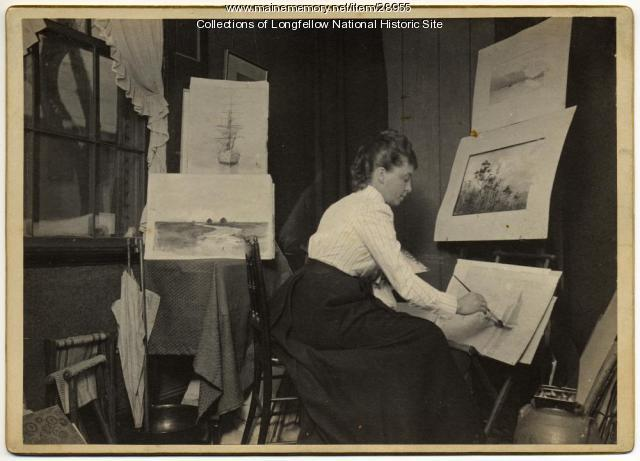 Mary King Longfellow at her easel, Boston, ca. 1885