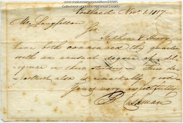 School report on Stephen and Henry Longfellow, 1817