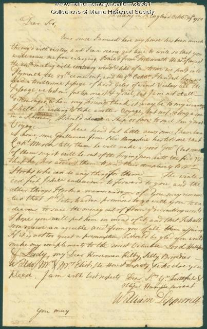 William Pepperrell letter concerning voyage from England, 1750