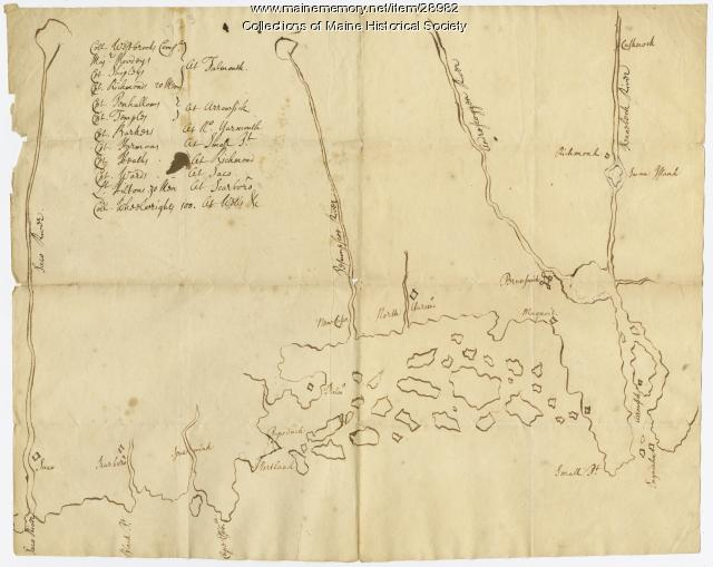 Map of coastal Maine forts, 1723
