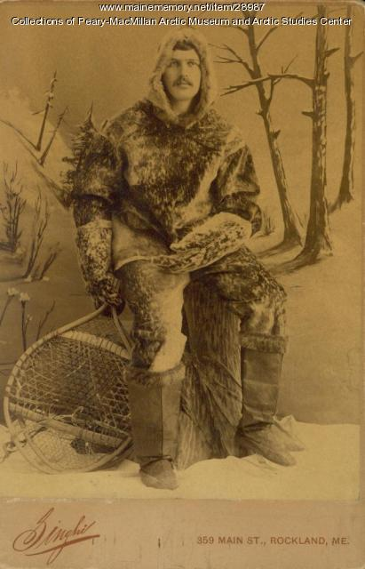 Young man wearing sealskin clothes, Rockland, 1891