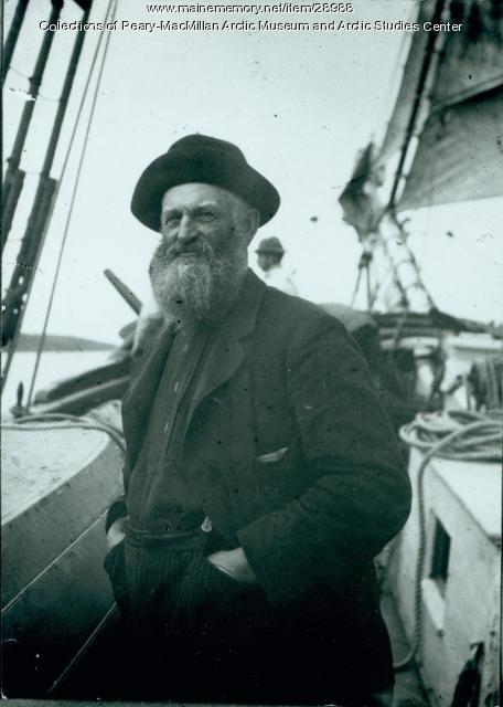 Captain N.P. Spear aboard the 'Julia A. Decker,' 1891