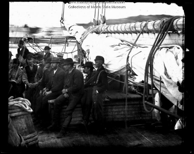 Crew aboard Annie C. Maguire, ca. 1886
