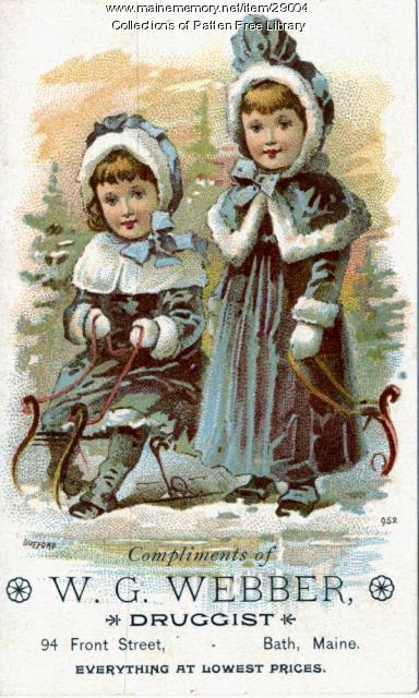 W.G. Webber Drugstore Trade Card, Bath, ca. 1895