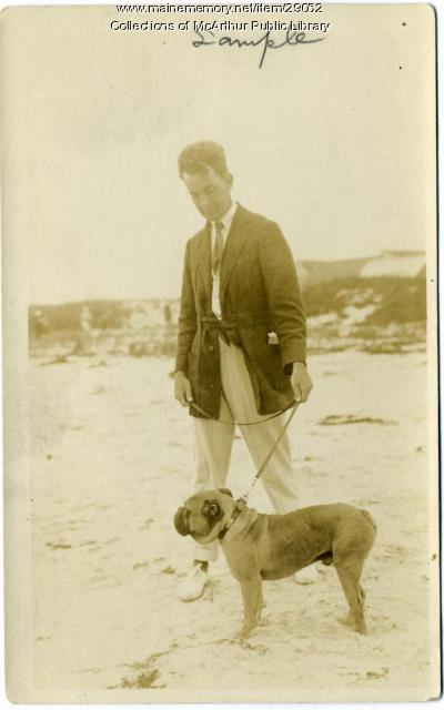 James Montgomery Flagg and dog, Biddeford Pool, circa 1915