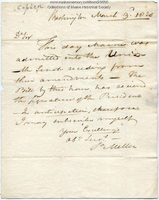 Letter announcing Maine statehood, 1820