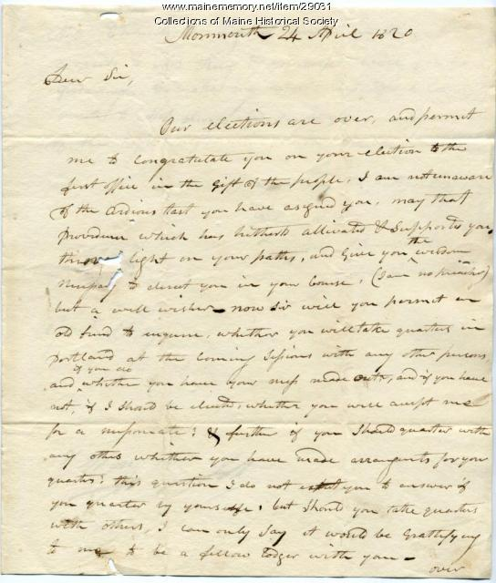 John Chandler to William King on election as governor, 1820