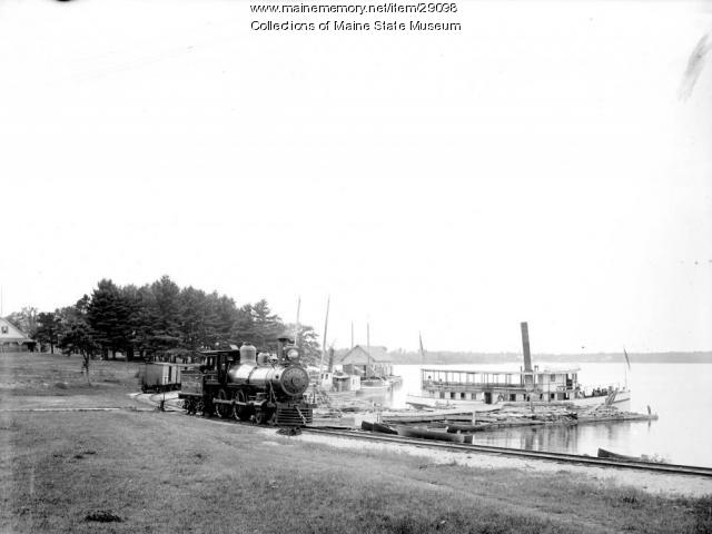 Steamer and train, Sebago Lake, ca. 1900
