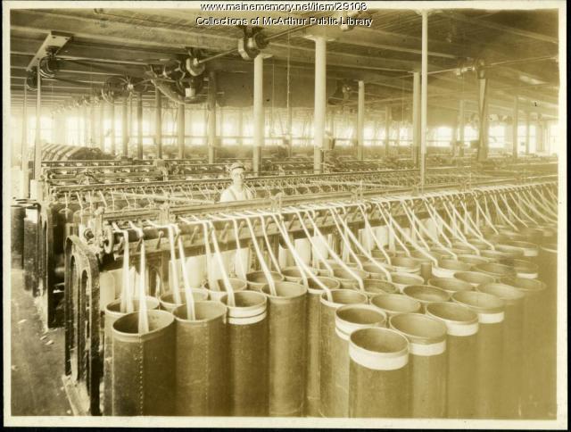 Slubbers at Pepperell Mills, Biddeford, circa 1925
