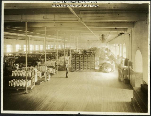 High-speed warping room, Pepperell Mills, Biddeford, circa 1925