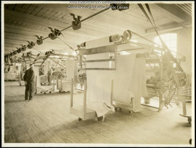 Brushing machines at the Pepperell Mills, Biddeford, circa 1925