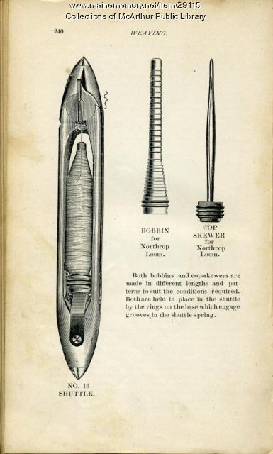 Shuttle, bobbin and cop skewer from Draper textile equipment catalog, 1901