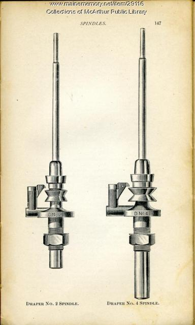 Spindles from Draper textile equipment catalog, 1901