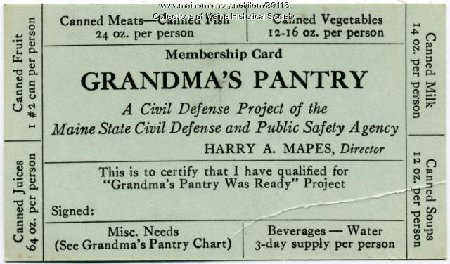 Grandma's Pantry Civil Defense card, ca. 1956