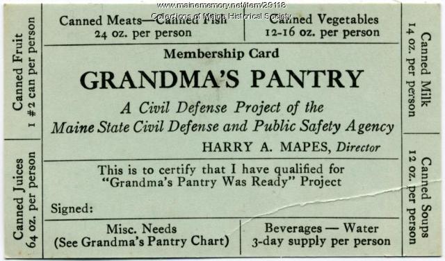 Grandma's Pantry Civil Defense card, ca. 1956