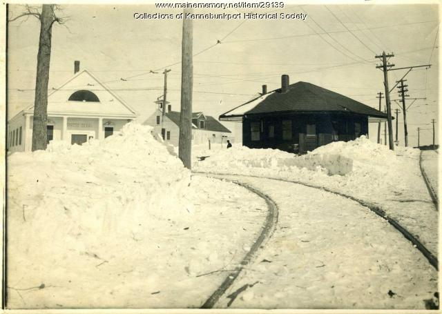Town Hall and Town House Station in Winter, Kennebunkport, ca. 1914-1927
