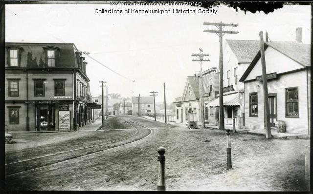 Dock Square and Trolley Tracks, Kennebunkport, ca. 1900