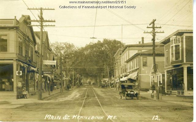 Trolley and Tracks, Main Street, Kennebunk, ca. 1917