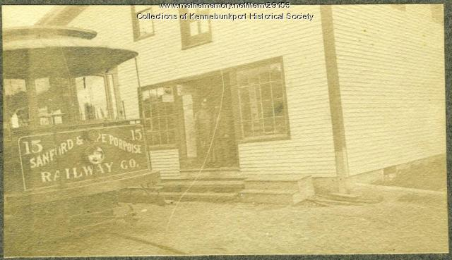 Sanford & Cape Porpoise Railway Trolley at Pinkham's Store, Cape Porpoise, ca. 1900-1920