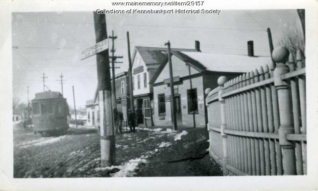 Trolley in Dock Square, Kennebunkport, ca. 1910
