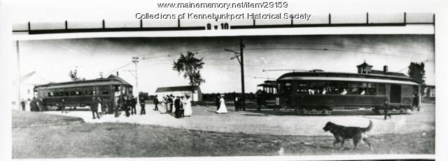 Trolley Cars and Passengers at Town House Station, Kennebunkport, ca. 1904