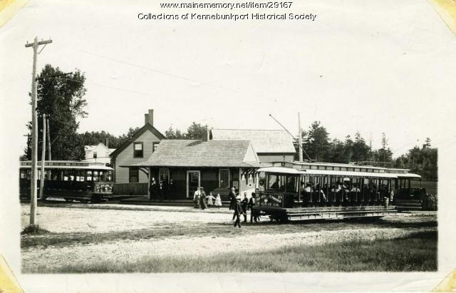 Town House Corners Trolley Station, Kennebunkport, ca. 1903
