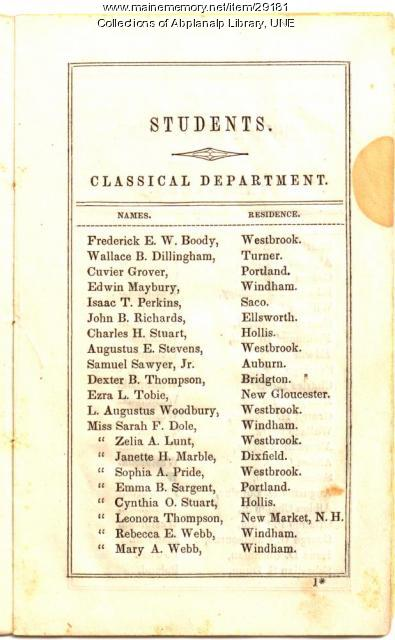 Westbrook Seminary Catalogue (Students, Classical Dept.), 1844