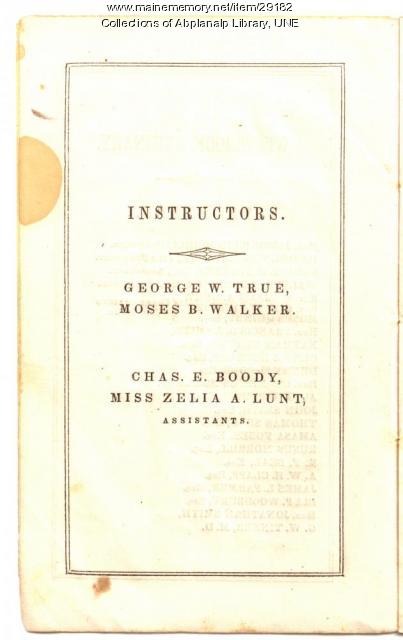Westbrook Seminary Instructors & Assistants, 1844