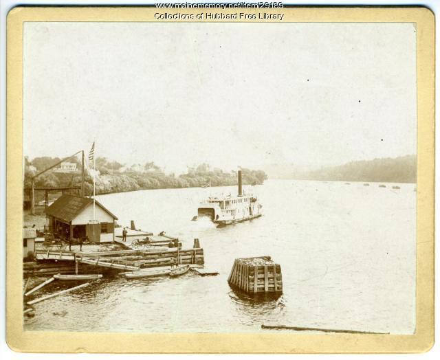 Della Collins, Eastern Steamship Company Wharf, Kennebec River, Hallowell, ca. 1890