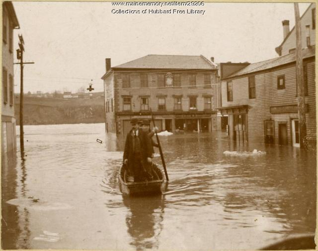 Flood, Lower Central Street, Hallowell, 1896