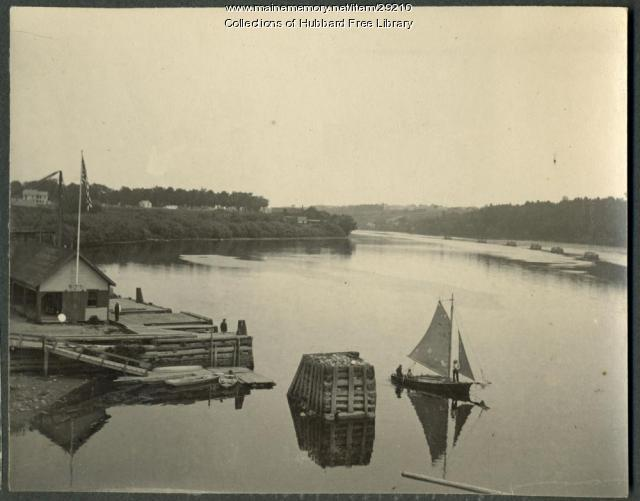 Eastern Steamship Company Wharf, Kennebec River, Hallowell, ca. 1890