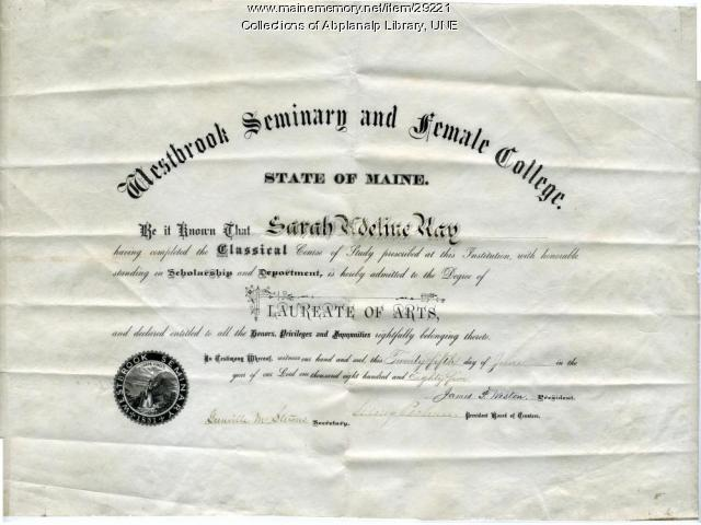 Sarah Ray laureate of arts degree, Westbrook Seminary, 1885