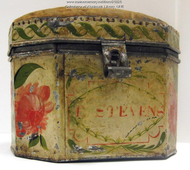 Pincushion Box, Zachiariah Brackett Stevens Tinware, ca. 1820
