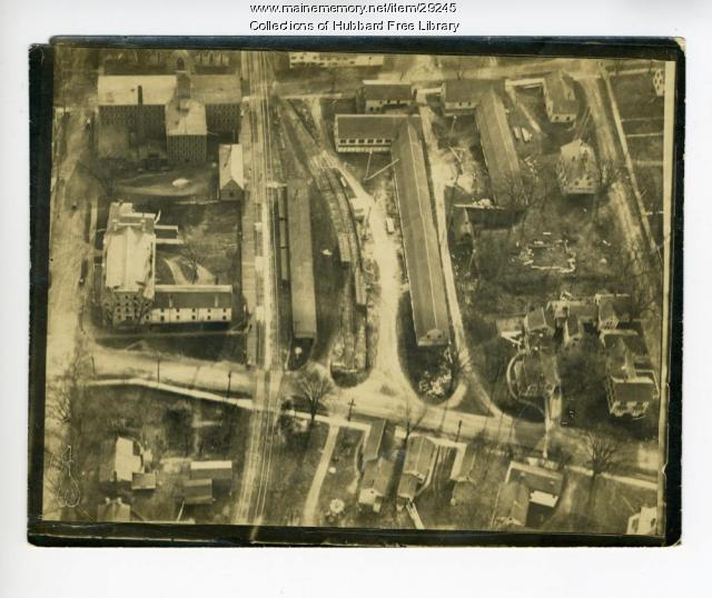 Aerial view of Hallowell Granite Works, ca. 1920