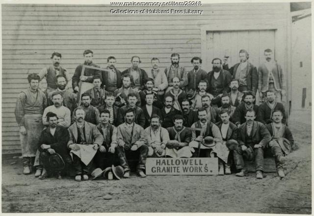 Workers, Hallowell Granite Works, Franklin Street, ca. 1895