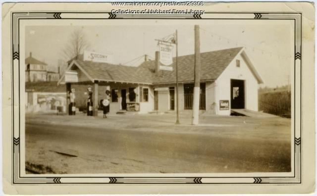 Socony Garage, Water Street, Hallowell, ca. 1930