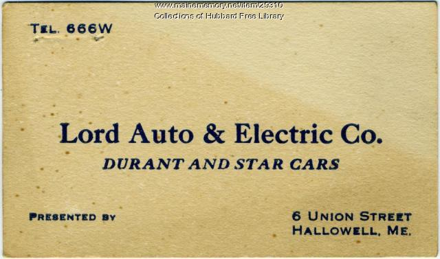 Lord Auto & Electric Company business card, Hallowell, ca. 1930